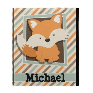 Woodland Fox; Sage Green, Orange, Brown Stripes iPad Folio Cover