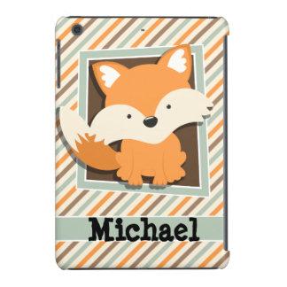 Woodland Fox; Sage Green, Orange, Brown Stripes iPad Mini Case