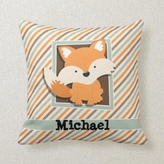 Woodland Fox; Sage Green, Orange, Brown Stripes Pillow