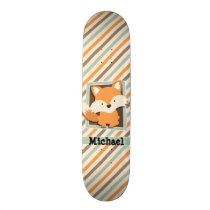 Woodland Fox; Sage Green, Orange, Brown Stripes Skateboard