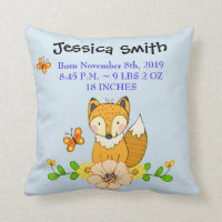 Woodland Fox Simple Chevron Nursery Throw Pillow