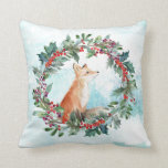 """Woodland Fox Throw Pillow<br><div class=""""desc"""">A cute woodland fox sits in a Christmas wreath. This pillow will make a perfect touch to any Christmas decor.</div>"""