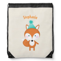 Woodland Fox with Balloons Drawstring Backpack