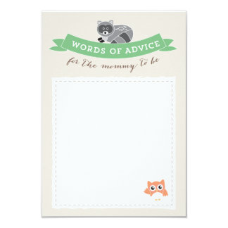 Woodland Friends Advice Cards Baby Shower Game Invite
