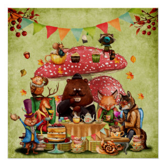Woodland Friends at Teatime in Forest Poster