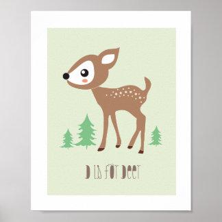 Woodland Friends - D is for Deer Art Print