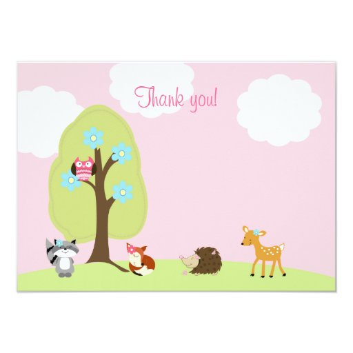 Woodland Friends Flat Thank you Note (Pink) Card