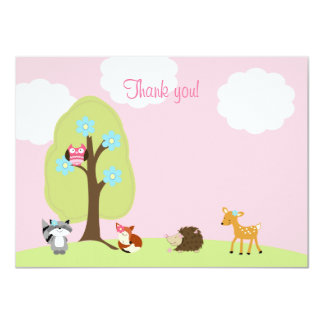 Woodland Friends Flat Thank you Note (Pink) Custom Invite
