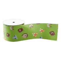 Woodland Friends - Fox Bear Raccoon Hedgehog Deer Grosgrain Ribbon