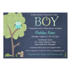 Woodland Friends Little Owl Baby Boy Shower Invite