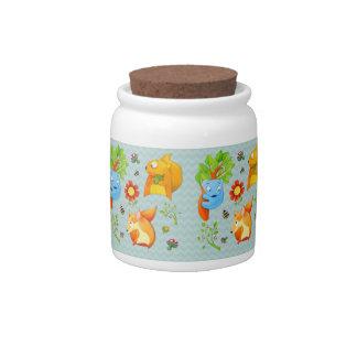 Woodland Fun aqua Candy Jar