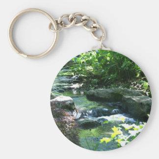 Woodland Garden Stream Basic Round Button Keychain