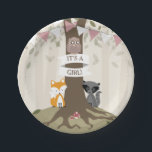 """Woodland Girl Baby Shower Paper Plate<br><div class=""""desc"""">Baby shower paper plates featuring an illustration of a tree with green leaves and exposed roots. A fox and raccoon sit at either side of the trunk and an owl sits on banner wrapped around trunk that says,  &quot;It&#39;s A Girl!&quot; Bunting is white and pink.</div>"""