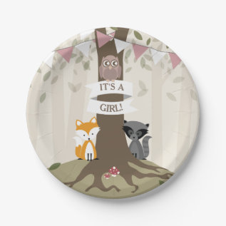 Woodland Girl Baby Shower Paper Plate at Zazzle