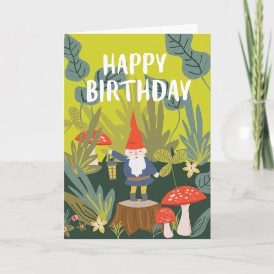 Woodland Gnome Birthday Wishes Card Zazzle