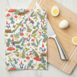 """Woodland Gnomes Hand Towel<br><div class=""""desc"""">Whimsical green and red woodland themed pattern designed by Shelby Allison featuring tiny gnome characters,  mushrooms,  flowers and foliage.</div>"""