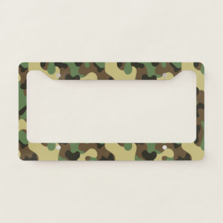 Woodland Green and Brown Camouflage. Camo your License Plate Frame