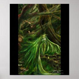 Woodland Green - fantasy poster print