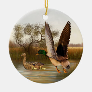 Woodland Green Wing Ducks Double-Sided Ceramic Round Christmas Ornament