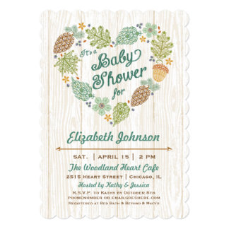 Woodland Heart Baby Shower Invitation