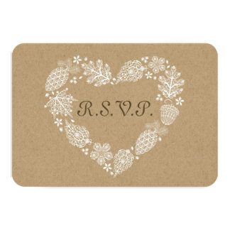 Woodland Heart Lacy Leaves Fall Wedding RSVP Card