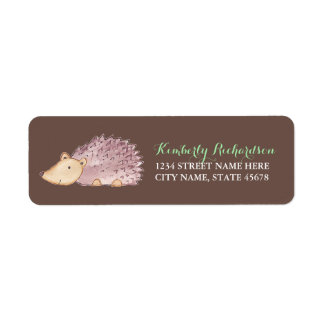 Woodland Hedgehog Address Label / Brown