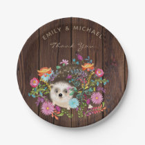 Woodland Hedgehog Plates Rustic Watercolor