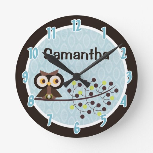 Woodland Hoot Owl Forest Animal Personalized Clock