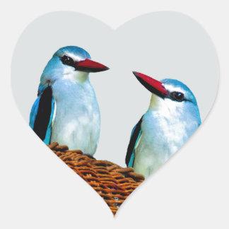 Woodland Kingfisher birds Heart Sticker