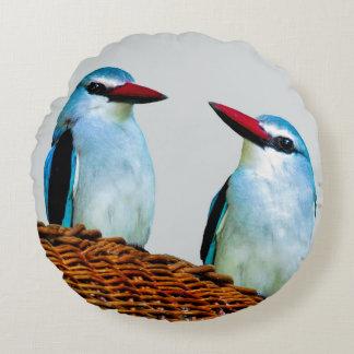 Woodland Kingfisher birds Round Pillow