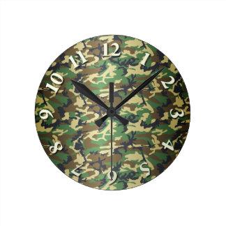 Woodland Leaves Camo Round Clock