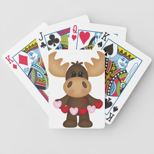 Woodland Love Moose Bicycle Playing Cards