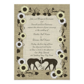 Woodland Love Sunflower Wedding 5.5x7.5 Paper Invitation Card