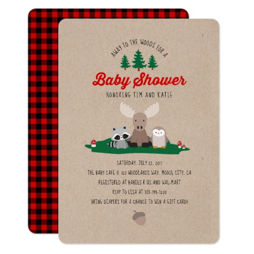 Woodland Lumberjack Baby Shower Animals Invitation