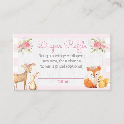 Woodland Lumberjack Baby Shower Diaper Raffle Card