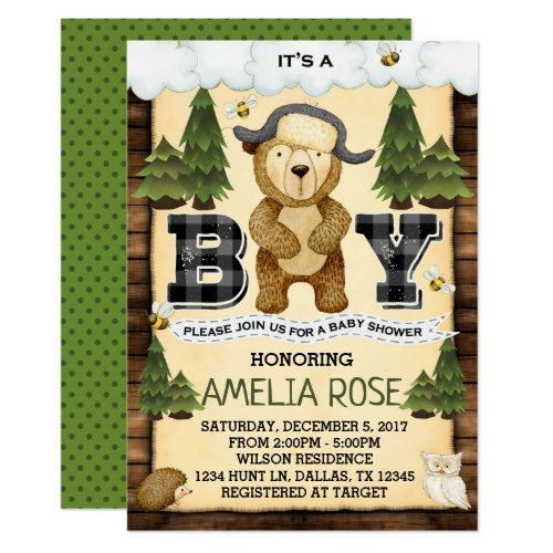 Woodland Lumberjack Bear Baby Shower Invitation