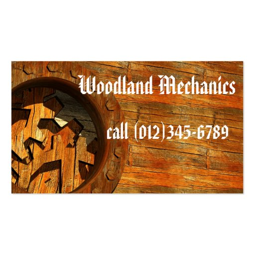 Woodland Mechanics Business Card (front side)