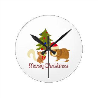 Woodland Merry Christmas Round Clock