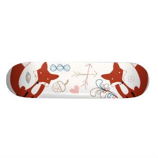 Woodland Modern Fox Arrows Acorn Leaf Pattern Skate Board Deck