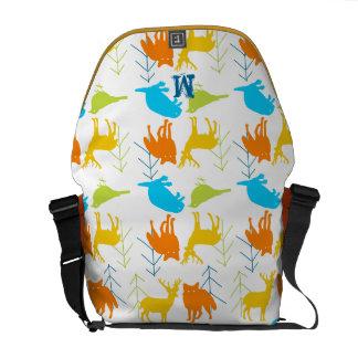 Woodland Modern Fox Birds Pine Tree Messenger Bag