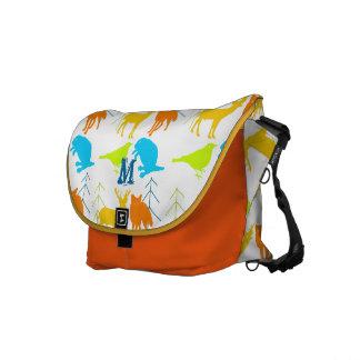 Woodland Modern Fox Birds Pine Tree Courier Bags