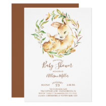 Woodland Mom & Little Deer Baby Shower Invitation
