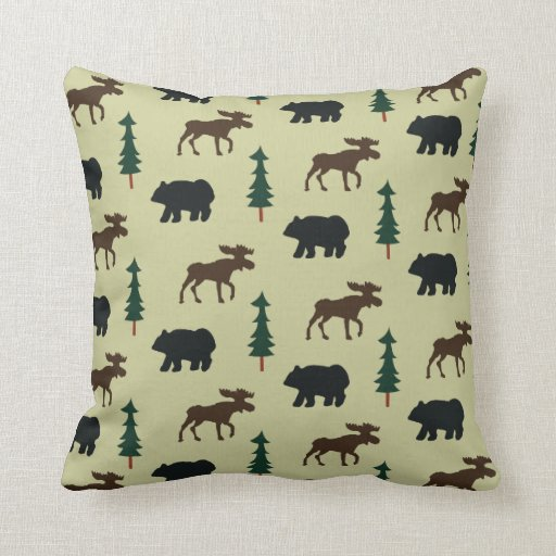 Woodland Moose and Bear Rustic Pillow - Green