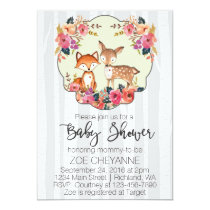 Woodland Nursery Baby Deer and Fox Baby Shower Card