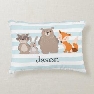 Woodland nursery pillow personalized Bear Fox