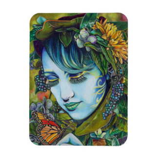 Woodland Nymph and Butterfly Friend Rectangular Photo Magnet