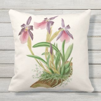 Woodland Orchids Outdoor Throw Pillow