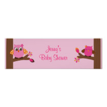 Woodland Owl Baby Girl Baby Shower Banner Sign Poster