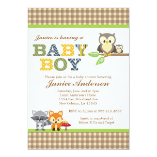 woodland owl baby shower invitation boy