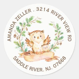 Woodland Owl Baby Shower Return Address Label